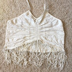 Free People Fringe Halter Crop Top
